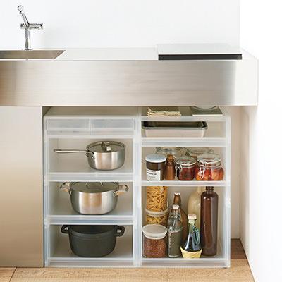「PP収納ラック」を使ったキッチン収納