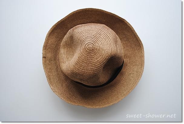 麦わら帽子裏返し