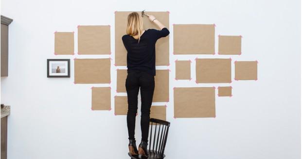 クラフトペーパーを壁に貼り付ける